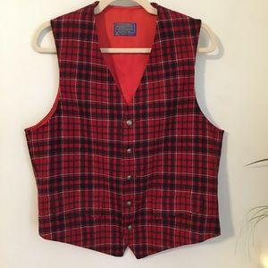 PENDLETON Vintage Red Plaid Wool Vest Waist Coat